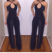 jumpsuit,black dress,blouse,black,boho dress,dress,shoes,open back,strappy,blue,new year's eve