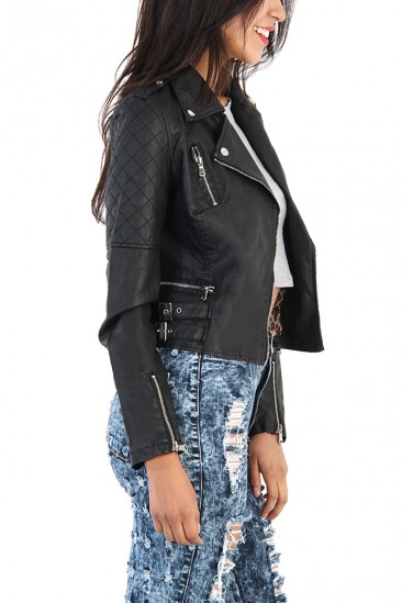 OMG Diamond Pattern Sleeve Leather Jacket - Black