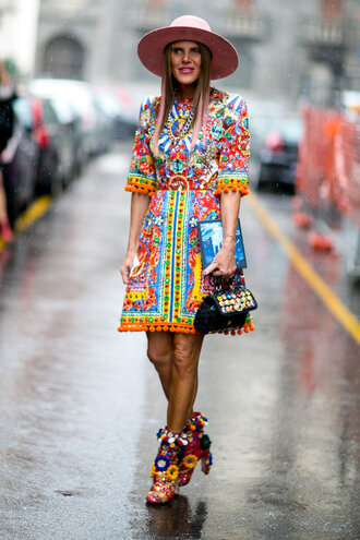 dress sandals colorful anna dello russo streetstyle hat milan fashion week 2016 fashion week 2016