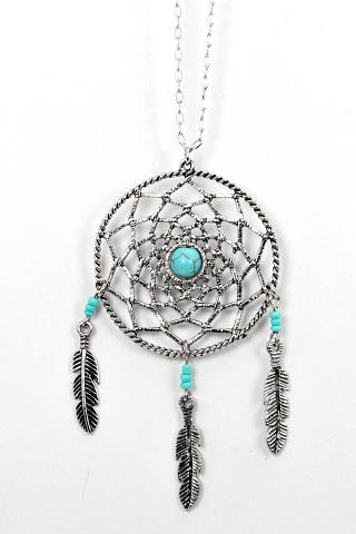 Long antique dreamcatcher silver leaf necklace
