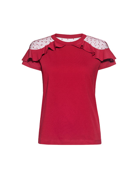 RED VALENTINO t-shirt shirt t-shirt cherry lace top
