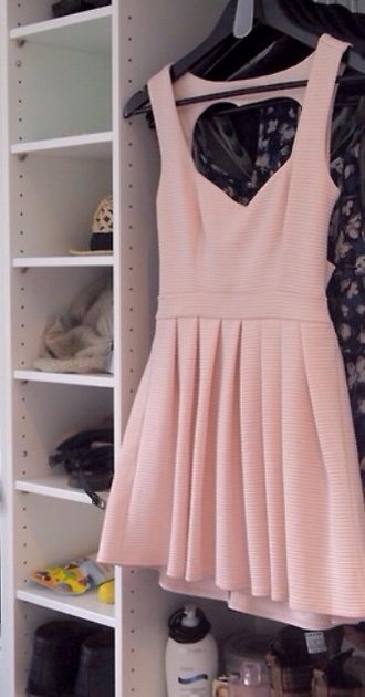 dress pink dress heart cut out spring outfits