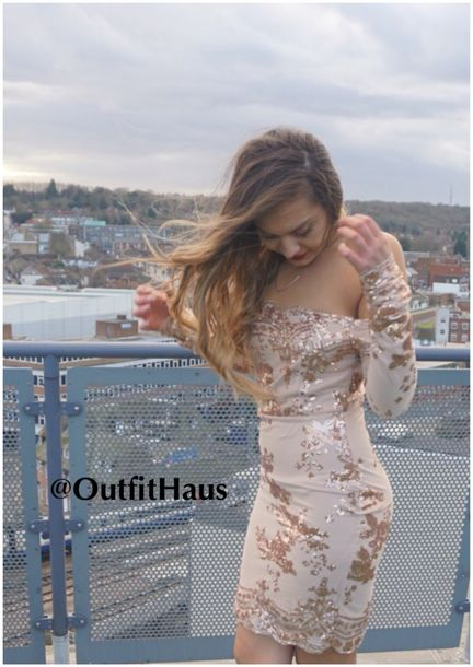 e00e7af9437 dress sequins rose gold gold party style outfithaus sexy bodycon girl boho  dress prom dress lace