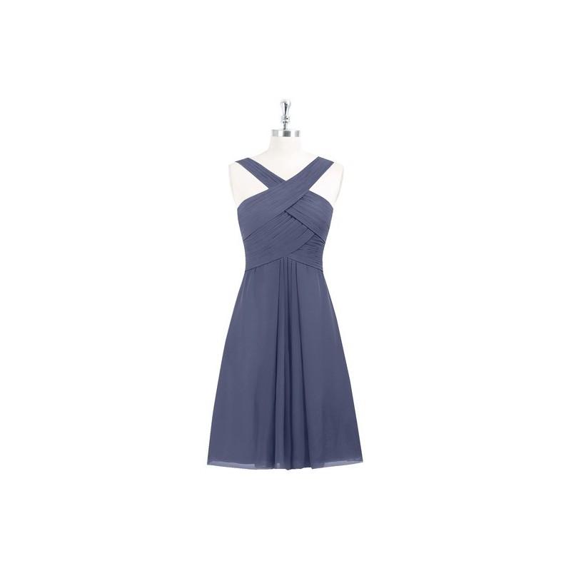 9ac162c2d8 Stormy Azazie Amani - Back Zip Knee Length V Neck Chiffon Dress ...