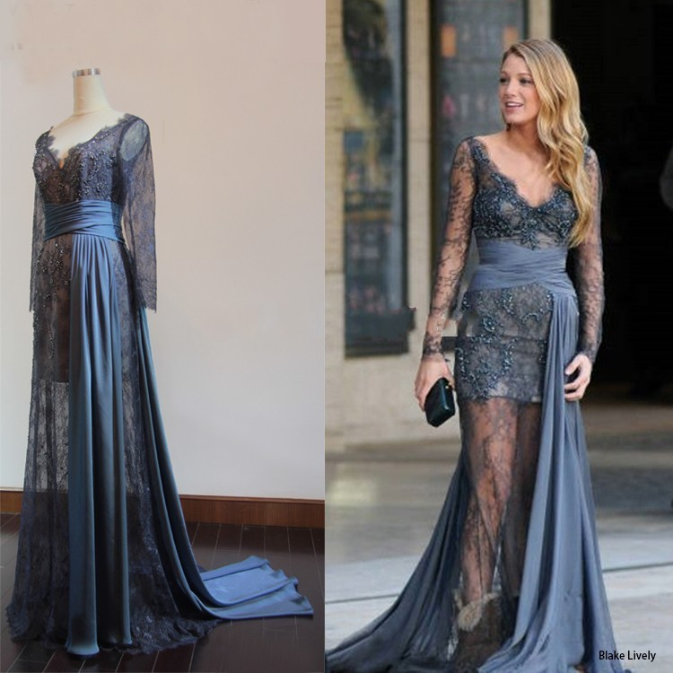 More detailed picture about free shipping 2014 deep v neck gossip girl blake lively fashion zuhair murad evening dress celebrity dresses picture in celebrity