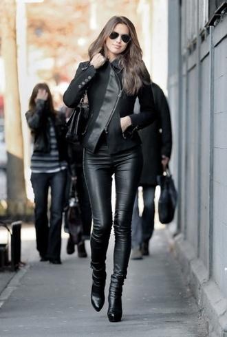 coat black black coat leather asymmetrical buttons pants leather pants
