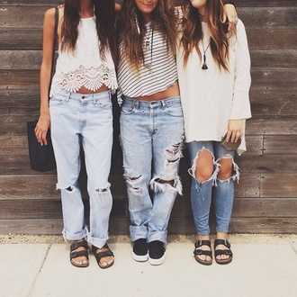 blouse jeans ripped jeans free people boyfriend jeans baggy pants