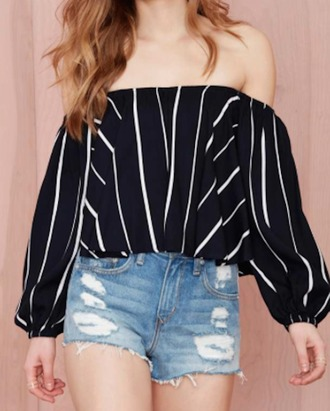 shirt crop tops black and white stripes off the shoulder loose fit