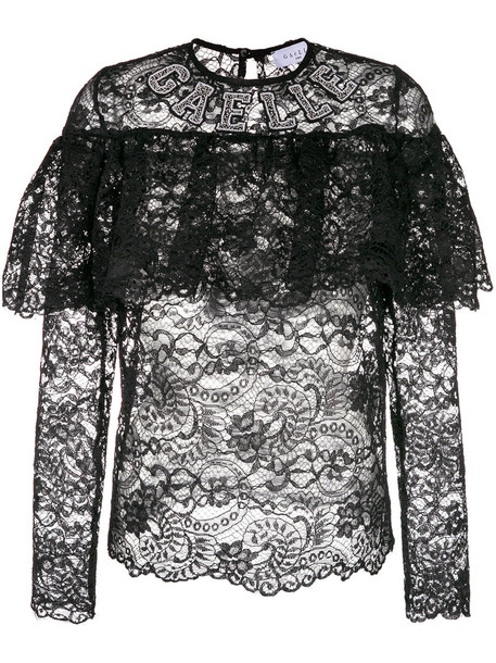 Gaelle Bonheur blouse sheer women lace black top