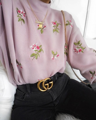 sweater flowers cute pink