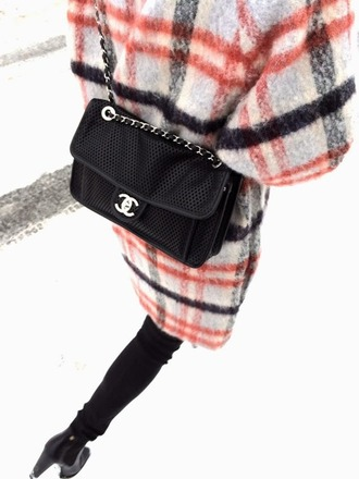 bag chanel bag ganni ganni coat checkered tumblr winter outfits mesh black booties chanel tumblr clothes