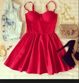 bustier bustier dress red dress dress date night dress black heels high heels