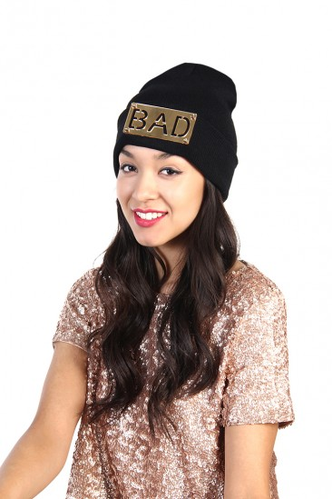 LoveMelrose.com From Harry & Molly | Bad Name Tag Beanie - Black / Gold