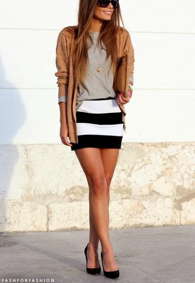 style fashion clutch top skirt fabulous sripped dress cardigan