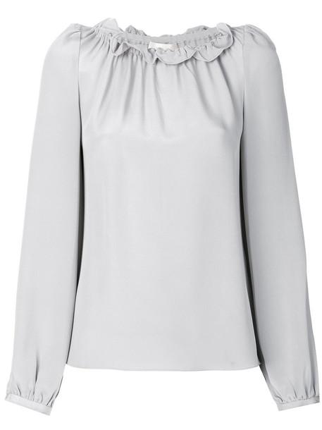 Goat blouse women silk grey top