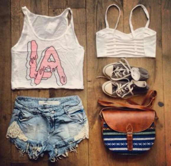 crop tops top shorts converse bag jeans shirt la shirt los angeles