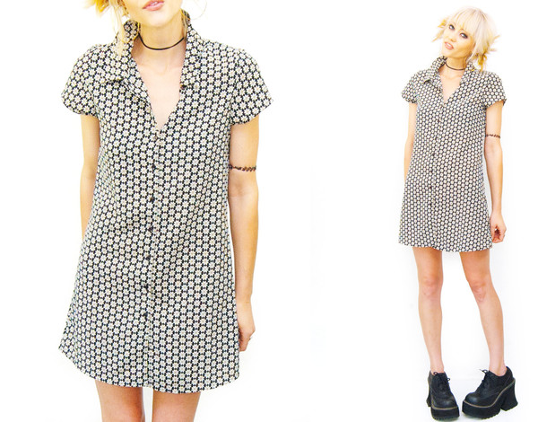 dress 90s style 1990s daisy mini dress club kid 90s grunge floral urban outfitters