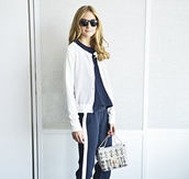 olivia palermo,sweater,pants,top,bag,sunglasses
