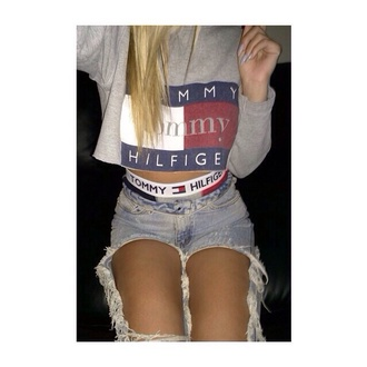 tommy hilfiger tommy hilfiger gray crop tops jeans