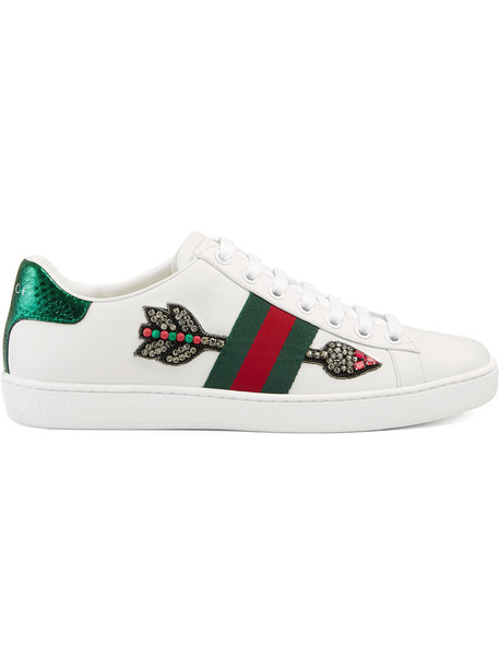 gucci embroidered women sneakers leather white shoes