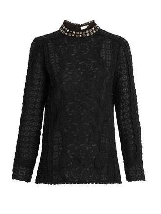 blouse embellished lace floral black top