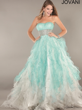 Strapless Two Tone Ruffled Skirt Prom Ball Gown Jovani 2225: DressProm.net