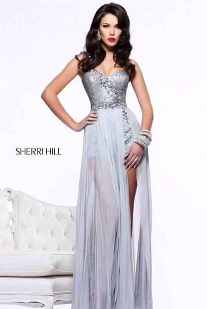 dress high low dress long prom dress silver dress prom prom 2014 ...