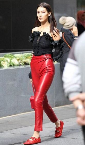 pants top red pants bella hadid ballet flats off the shoulder purse bag