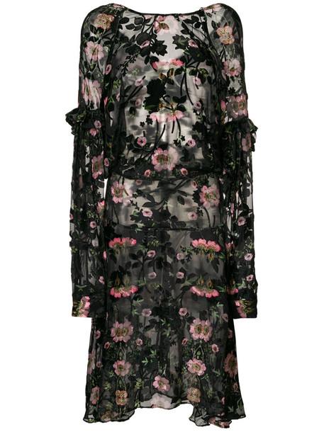 PREEN BY THORNTON BREGAZZI dress women floral black silk velvet