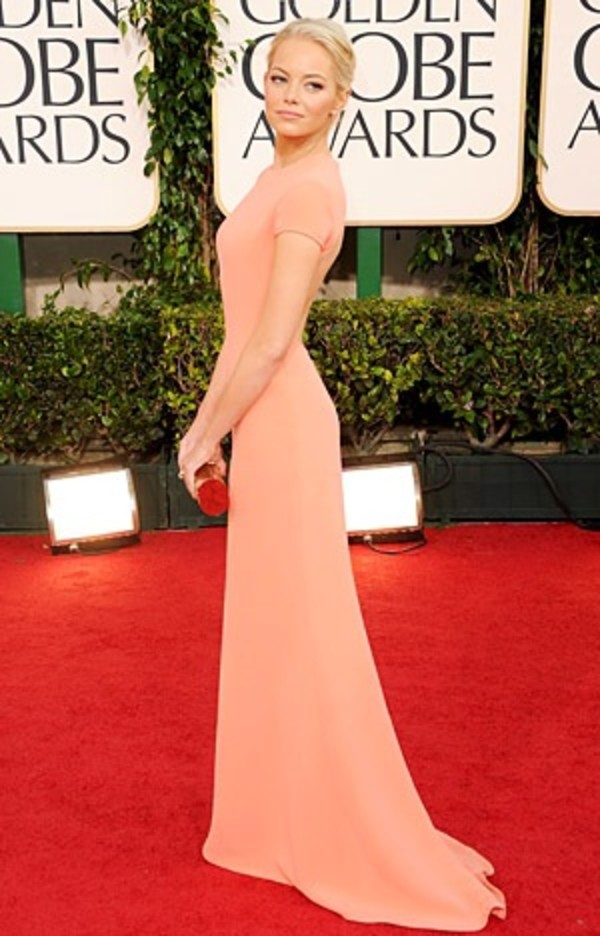 dress coral dress formal dress emma stone blonde hair awards