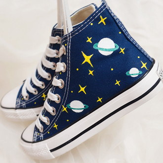 shoes blue sneakers galaxy print planets cool trendy fashion style lace up converse footwear