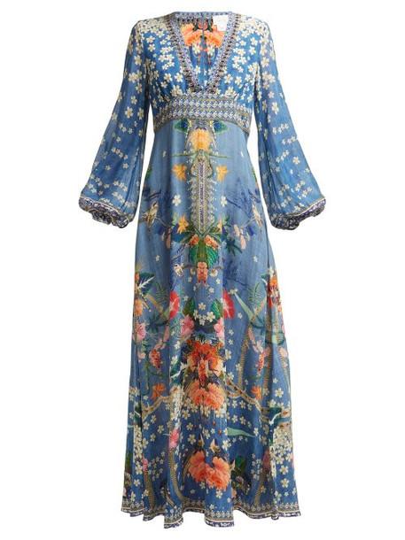 dress maxi dress maxi print blue silk