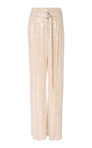 M'O Exclusive Belted Sequined Wide-Leg Pants by Sally LaPointe | Moda Operandi