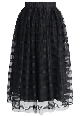 skirt chicwish chicwish.com midi skirt black skirt striped skirt sheer mesh skirt