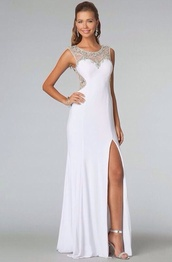 dress,prom dress,2014 prom dress,white cut leg dress,white dress,long dress,long prom dress,white