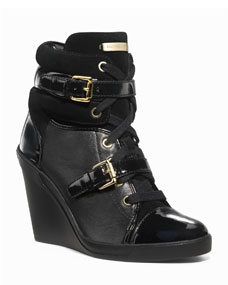 MICHAEL Michael Kors Skid Leather Wedge Bootie, Black