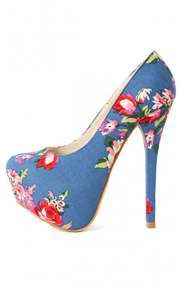 Liliana Freja-6 Floral Denim Platform Pumps | MakeMeChic.com