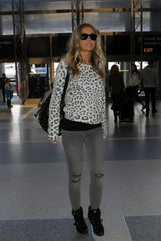 jeans carmen electra ripped jeans sweater animal print top