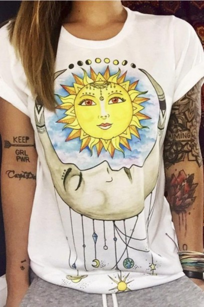 t-shirt fashion style cool sun moon trendy teenagers summer spring beautifulhalo
