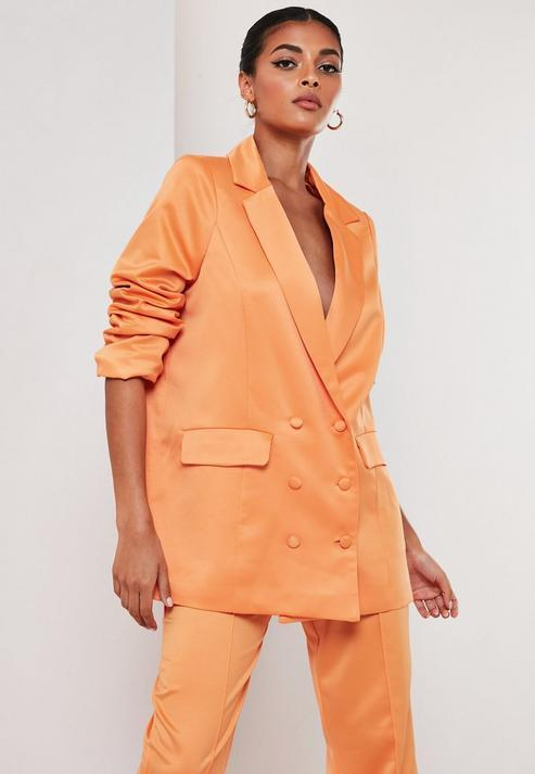 Orange Co Ord Satin Masculine Oversized Blazer