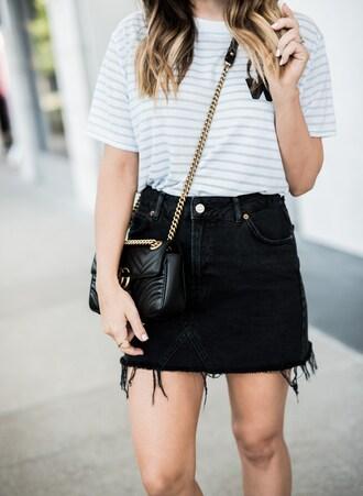 t-shirt logo shirt mini skirt denim skirt distressed denim blogger blogger style striped t-shirt crossbody bag