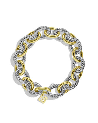 David Yurman Oval Large Link Bracelet with Gold - Neiman Marcus