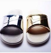 shoes,nike slides,nike,metallic shoes,slide shoes
