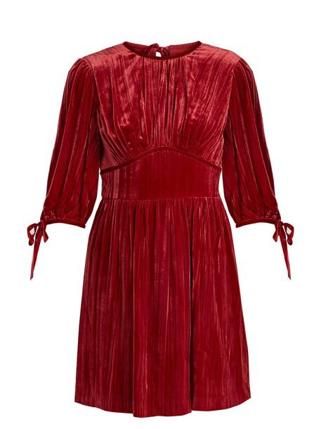 ALEXACHUNG dress mini dress mini velvet red