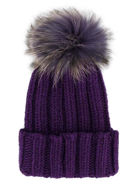 fur hat beanie pom pom beanie purple pink