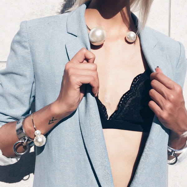the haute pursuit jewels necklace pearl tattoo bra underwear jacket classy bracelets bralette statement bracelet