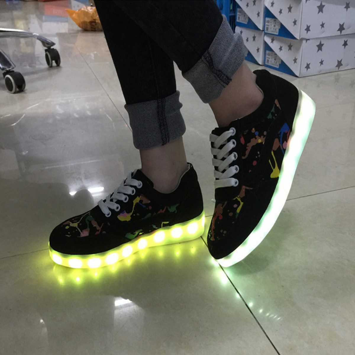 Buy Black Graffiti Pattern Adult Light Up Shoes Lighting Sneakers USB Charging Women Shoes under $69.99 only ... & Black Graffiti Pattern Adult Light Up Shoes Lighting Sneakers USB ... azcodes.com