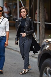 pants,slippers,lily collins,flats,shoes,metallic slides