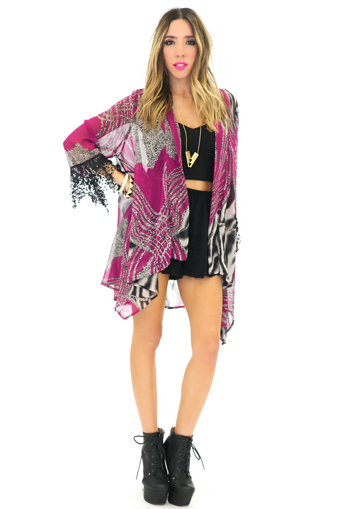 PALM TROPICAL CHIFFON KIMONO - Green | Haute & Rebellious