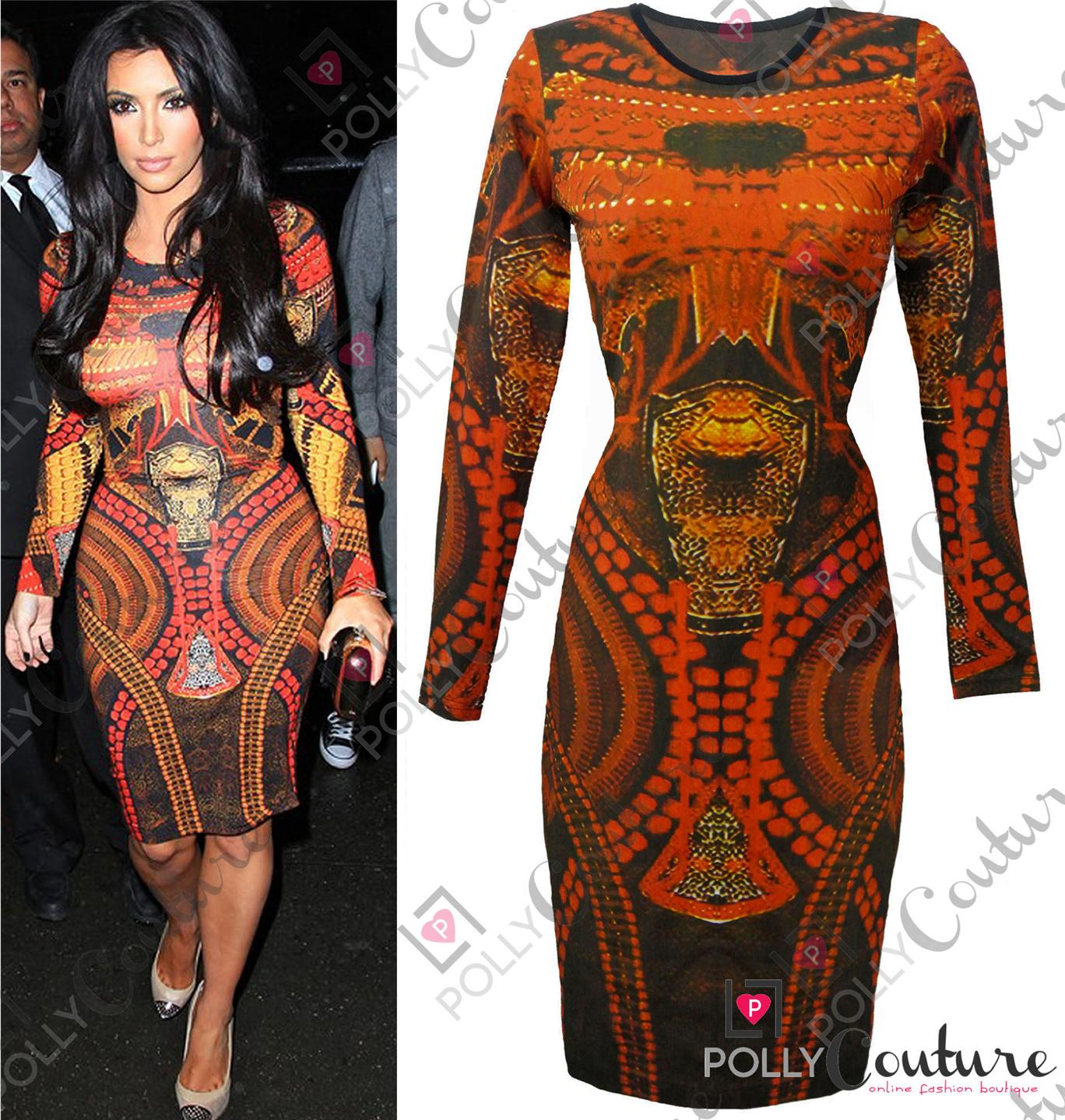 Womens Celeb Printed Tribal Midi Long Sleeved Fitted Bodycon Party Evening Dress | eBay